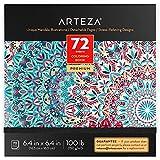 ARTEZA Mandala Malbuch für Erwachsene, Ausmalbuch mit 72 Mandalas für Erwachsene, 150 g/m², 16.25 x 16.25 cm, Anti Stress und Entspannung, abnehmbare Seiten